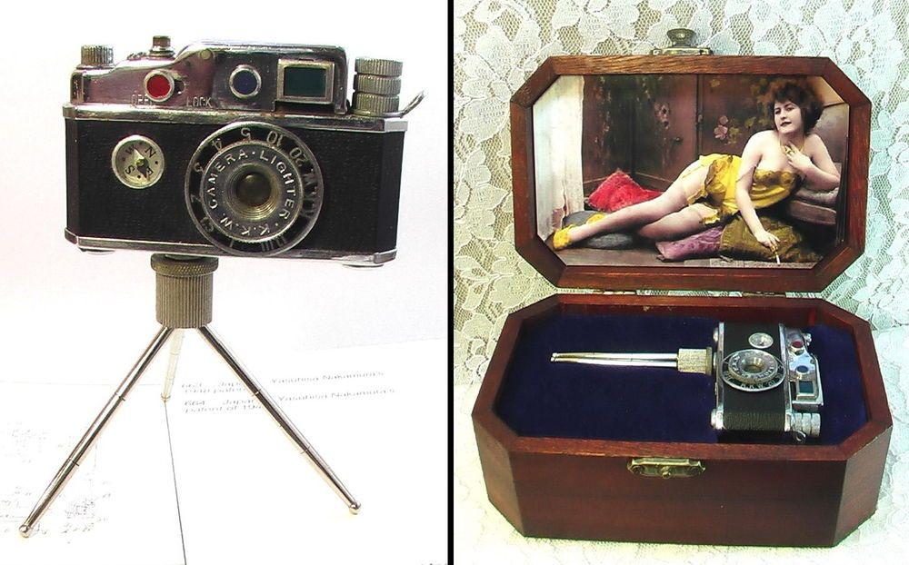 ACCENDINO ANTICO FOTOCAMERA BENZINA 1949 EROTICO EROS Camera Petrol Lighter KKW