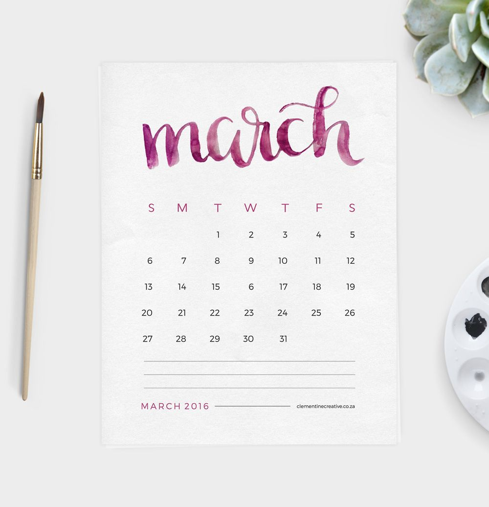 "This free printable 2016 calendar will brighten up your desk area. Each month name is painted by hand with watercolour paint. Click ""add to cart"" to download this calendar for free."