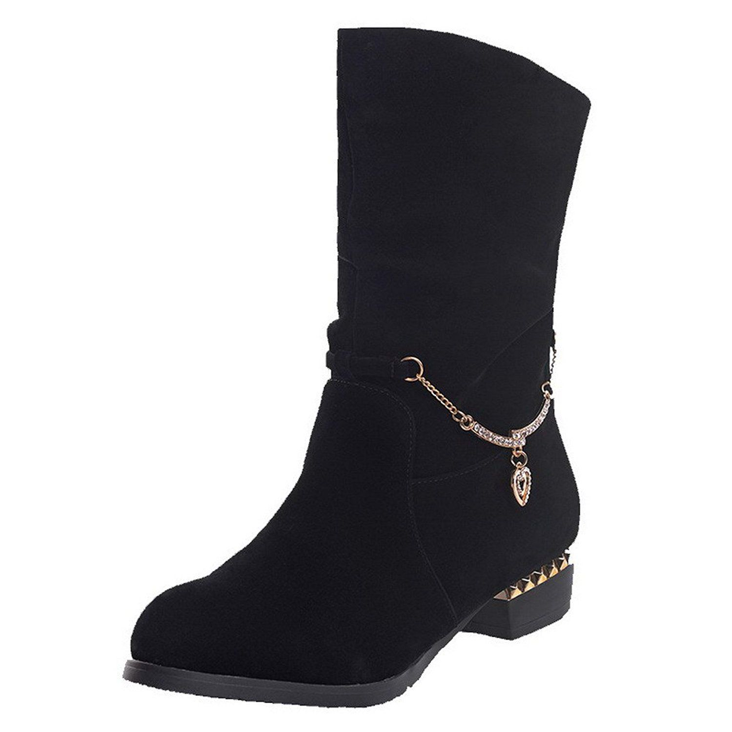 Women's Round Closed Toe High-Heels Frosted Low-Top Solid Boots