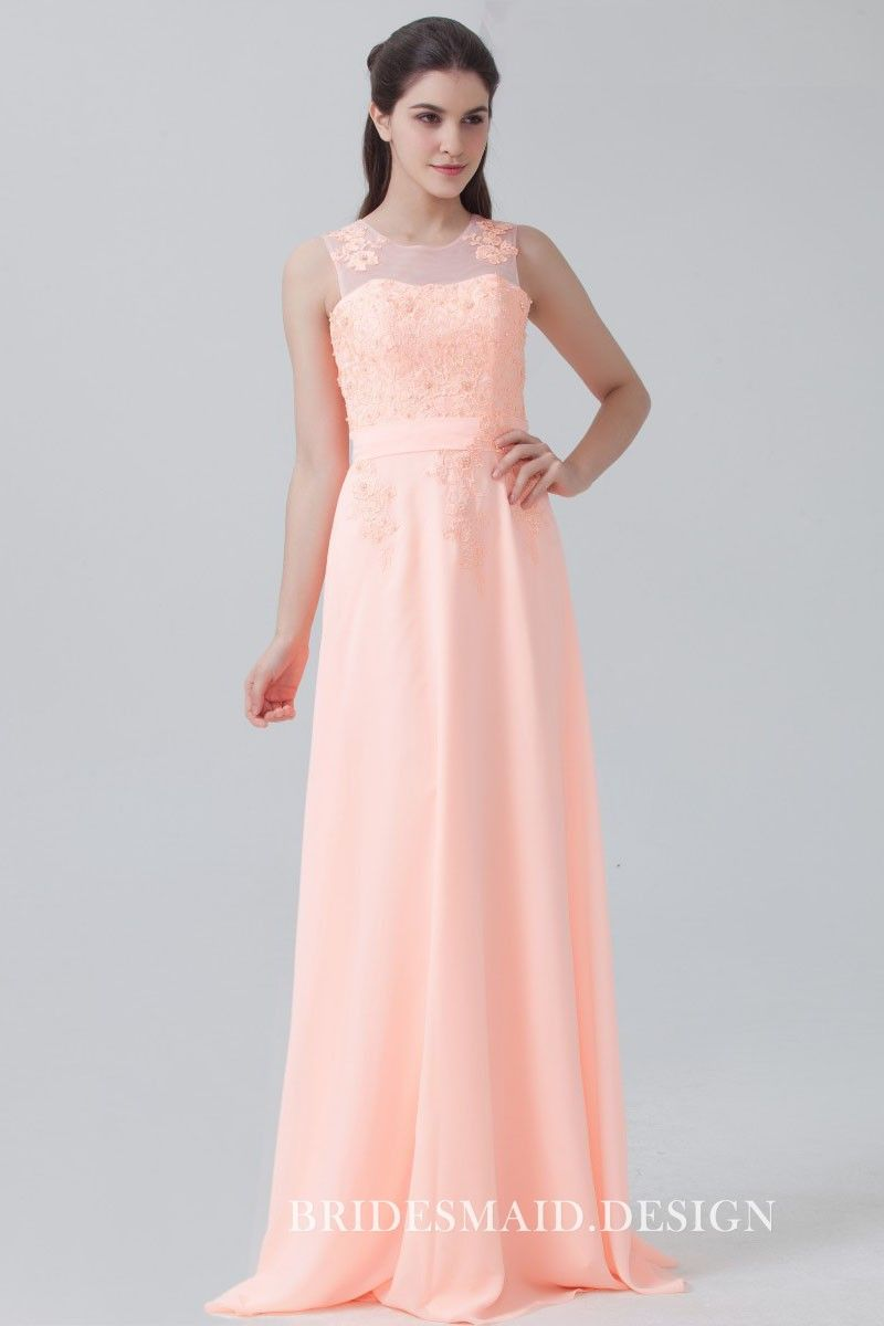 99a1b13d4 Peach pink lace and chiffon best cute bridesmaid dress. Floral sheer  shoulder straps