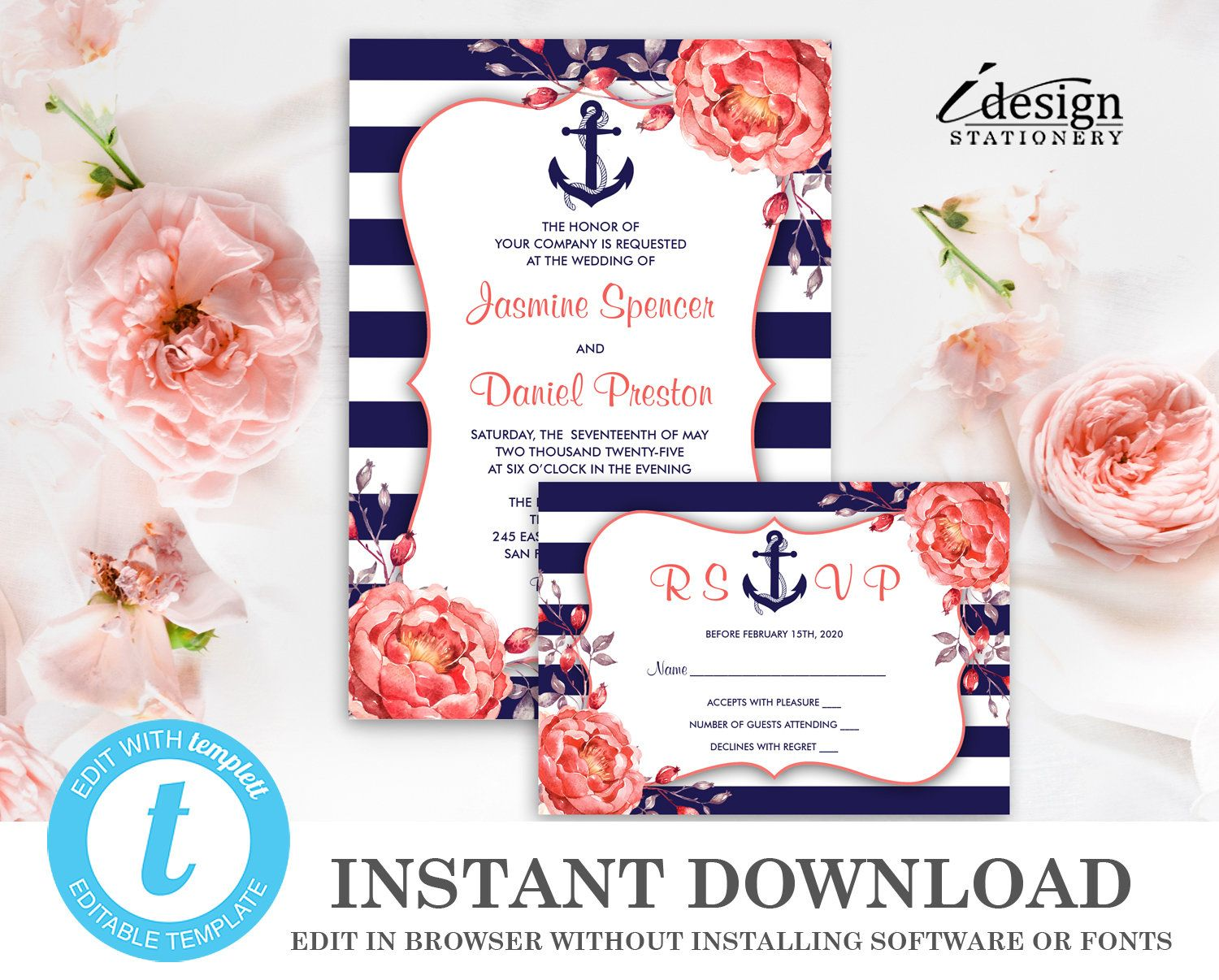 Nautical Wedding Invitation Template With Rsvp Card Instant Etsy Nautical Wedding Invitations Wedding Invitation Templates Wedding Invitations