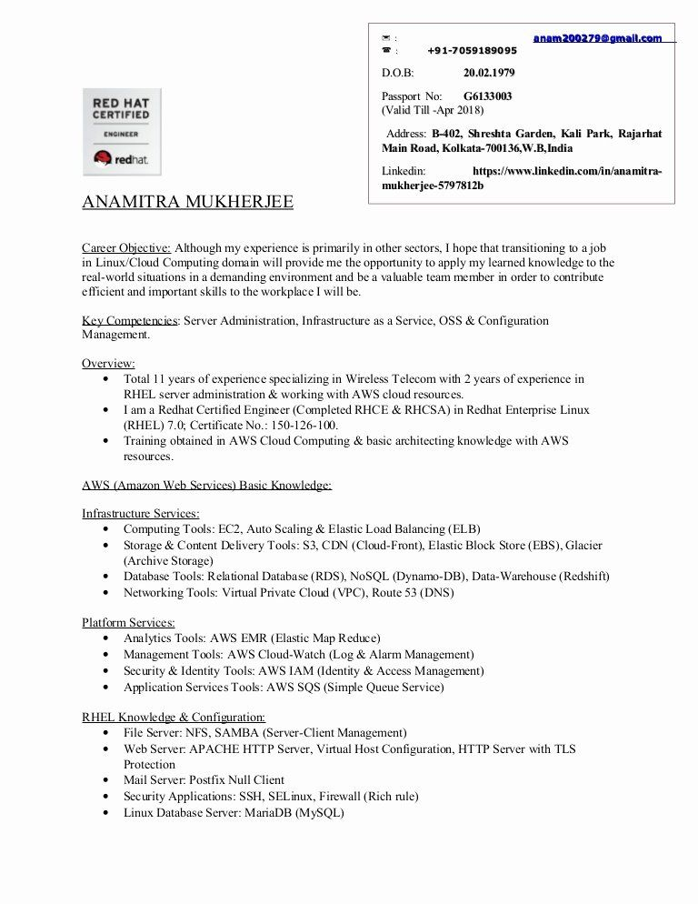 Java With Aws Resume Lovely Resume Anamitra Mukherjee Linux Aws Cloud Medical Assistant Resume Job Resume Samples Resume