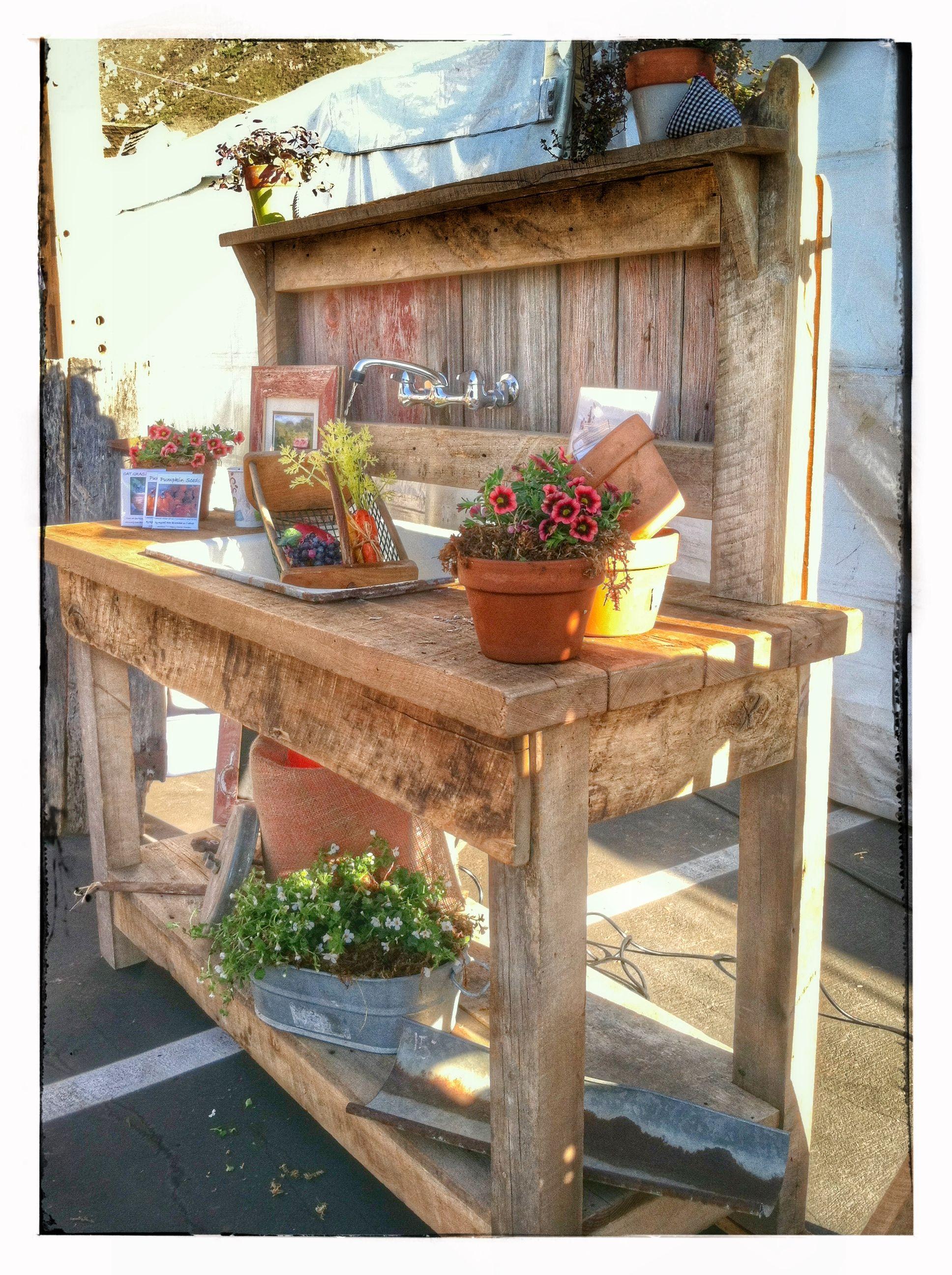 reclaimed barn wood potting bench