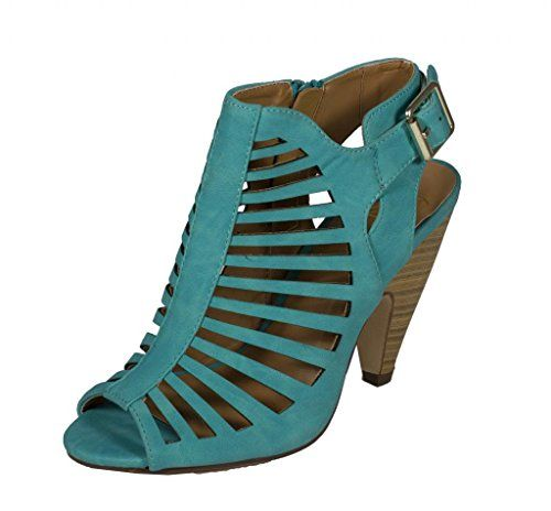 34b53fb5ae Lustacious Women's Strappy Cut Out Peep Toe Stacked Faux Wood Heel Side  Zipper Ankle Buckle Strap