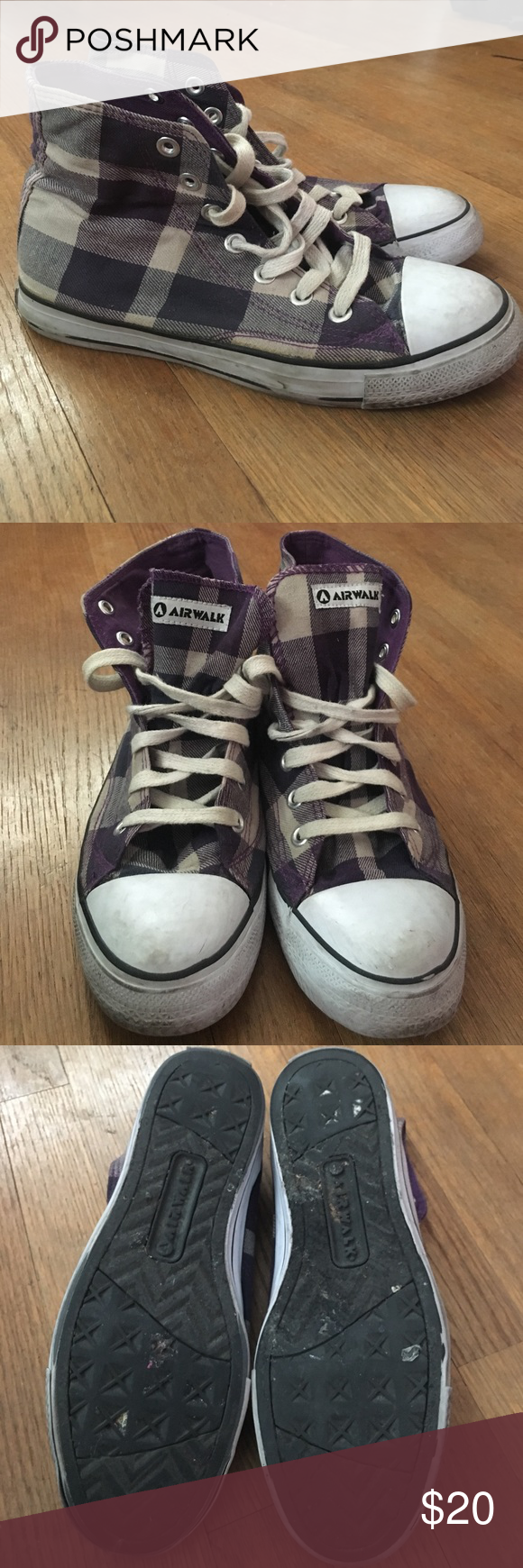 Blue and purple high top sneakers! Size 8 Blue and purple high tops. Bought  in New York. Worn very little and in good condition. Airwalk Shoes Sneakers 84a816dbea16