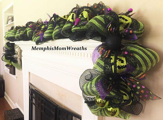 18 pre lit deco mesh halloween garland halloween garland doorway garland deco mesh garland halloween - Deco Mesh Halloween Garland
