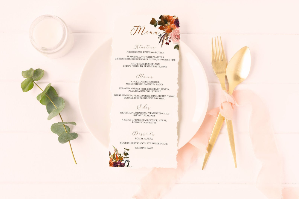 Wedding Menu Template, Thanksgiving Menu Download, Wedding Menu Cards, DIY Thanksgiving Table Decor, Fall Bridal Shower Menu Template #weddingmenutemplate