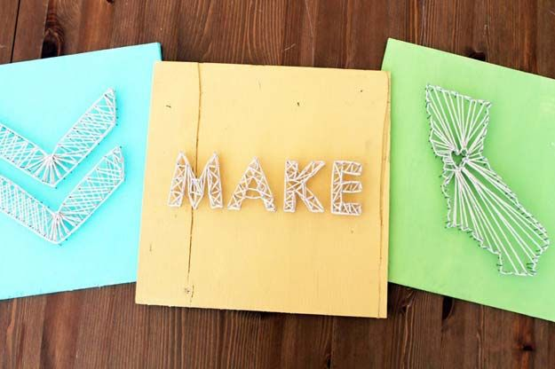 37 Awesome DIY Wall Art Ideas for Teen Girls | Nail string art ...