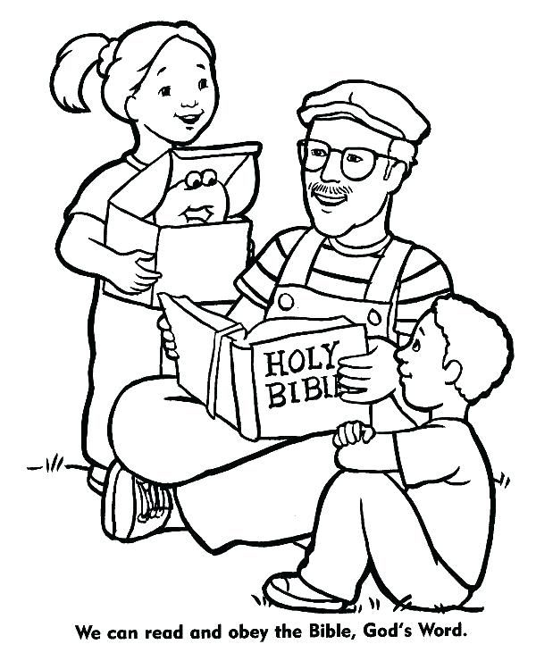 Obedience Coloring Page Obey God Happy Christian Family To Pages