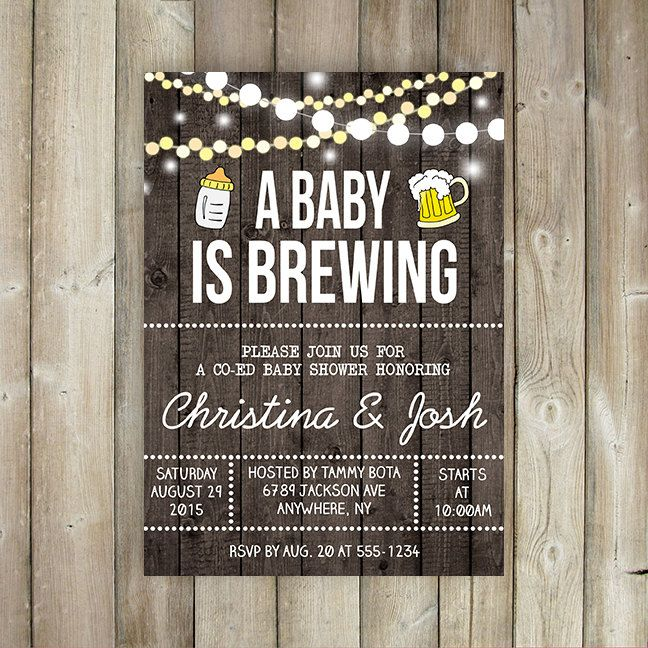 a baby is brewing baby shower invitation - co-ed baby shower, Baby shower invitations