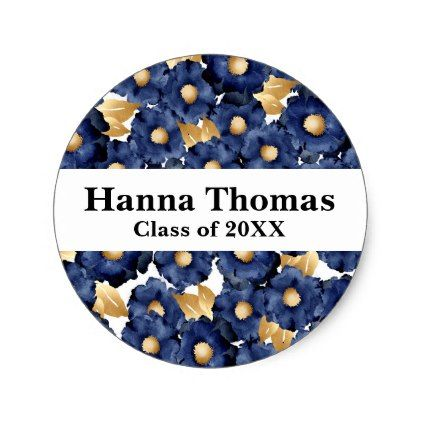 Navy gold bold floral graduation classic round sticker round stickers bald hairstyles and rounding