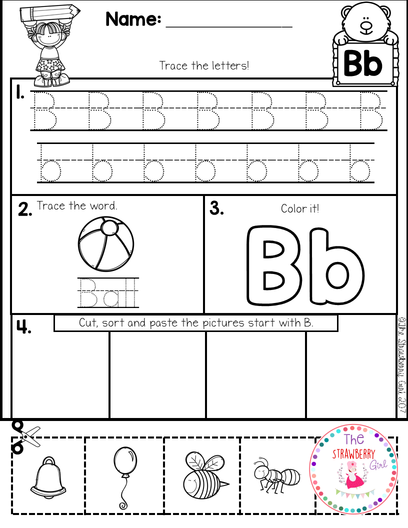 Alphabet Practice Cut And Paste Kindergarten Students And Morning