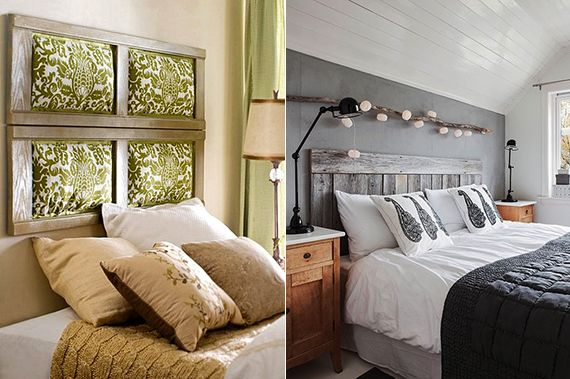 bett rückwand selber machen aus alten holzfensterrahmen als coole - wandgestaltung für schlafzimmer
