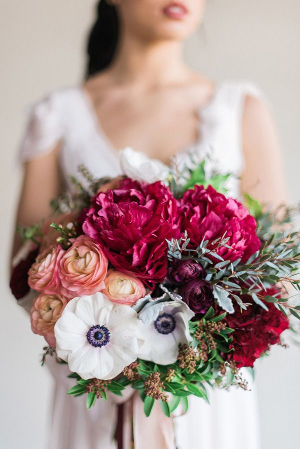 Graceful burgundy and blush wedding shoot white anemone winter bouquet with peonies anemone and ranunculus rustic white photography winter light graceful burgundy and blush wedding shoot mightylinksfo