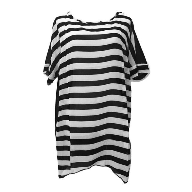 Loose Chiffon Black And White Stripe Beach Cover-up, One Size