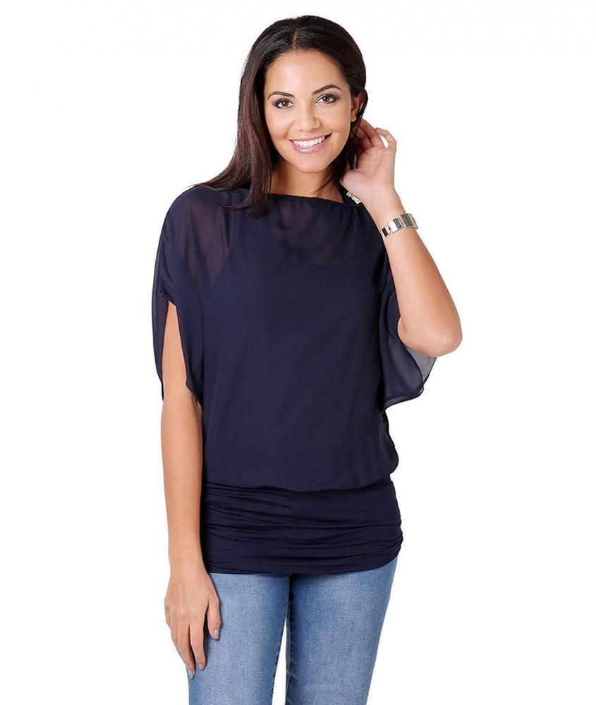 New Ladies Oversized 2 In 1 Batwing Chiffon Blouse Tank Summer Casual Tunic Top