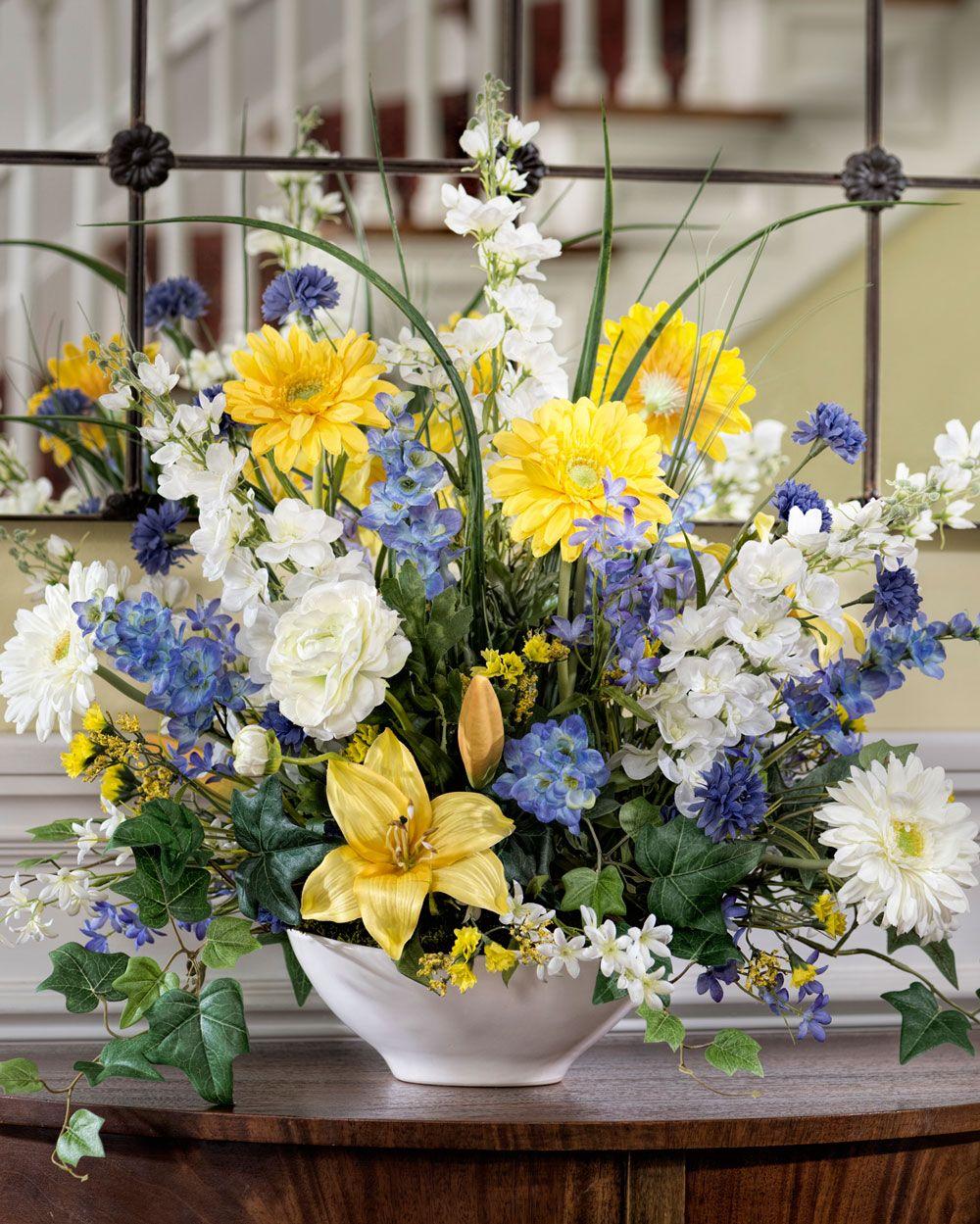 Delphinium Daisy Lily Br Silk Flower Arrangement Yellow Flower Arrangements Flower Arrangements Flower Centerpieces