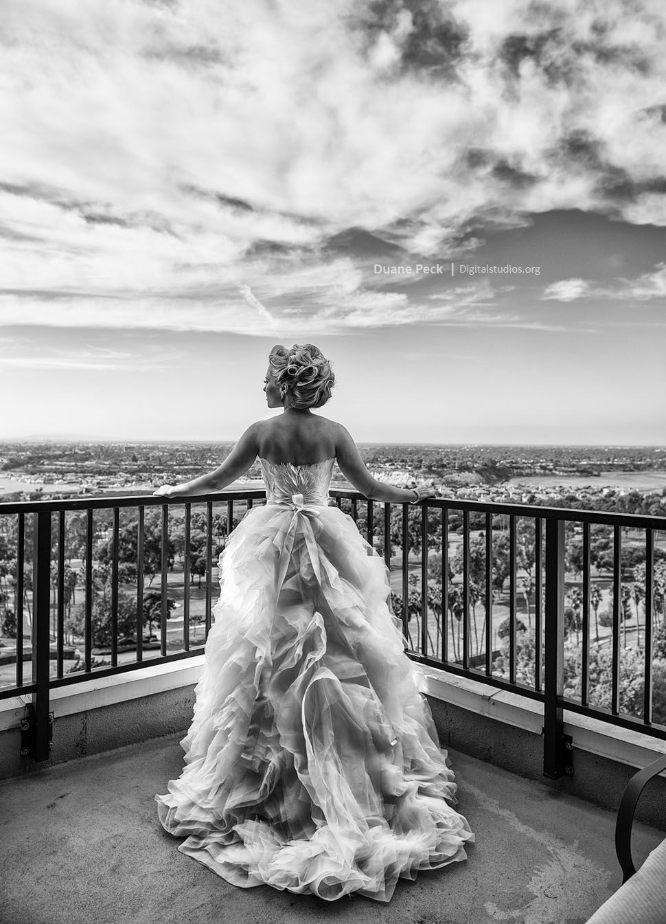 Looking out on balcony marriott newport beach hotel spa wedding