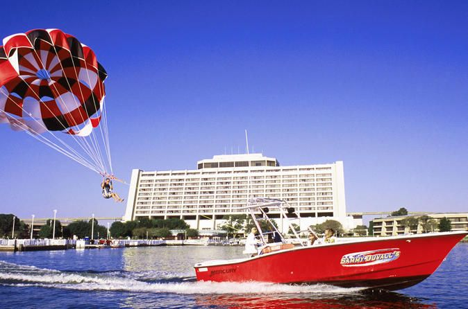 Parasailing at Disney's Contemporary Resort Get a bird's-eye view of the Walt Disney World® Resort while parasailing at Disney's Contemporary Resort. The feeling of flying is peaceful and exhilarating - all at the same time. The state-of-the-art parasail boat allows you to take off and land from the boat without getting wet! The crew and vessel exceed all United States Coast Guard regulations, ensuring the safest experience possible. This is a one-person parasailin...