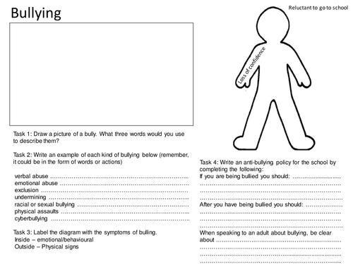 Bullying Worksheet | Anti-Bullying | Bullying worksheets ...