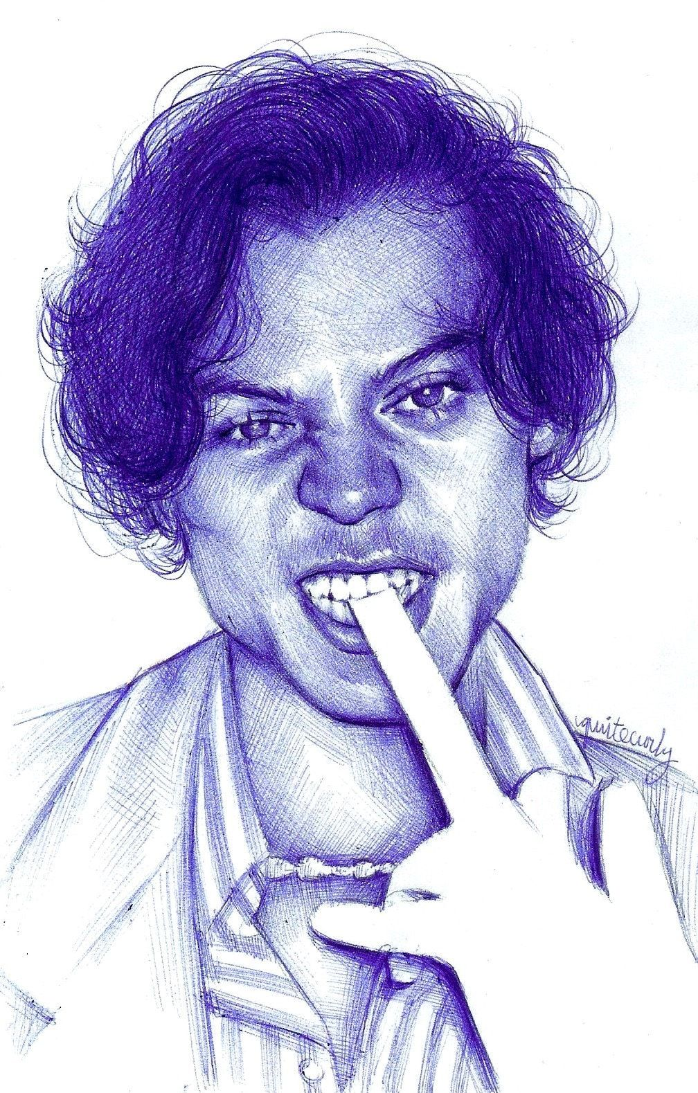 4x6 inch photo print of my original pen drawing of harry styles for the golden music video.