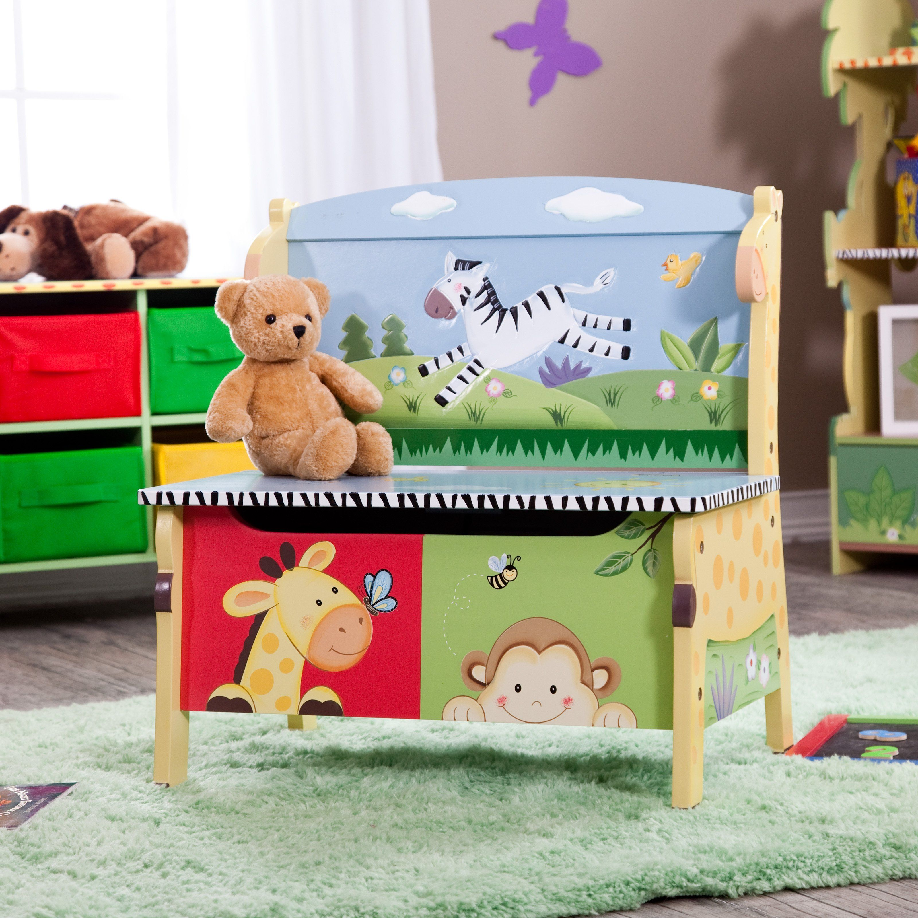 fantasy fields sunny safari storage bench add storage and seating to your childs bedroom or playroom with this animal themed storage bench