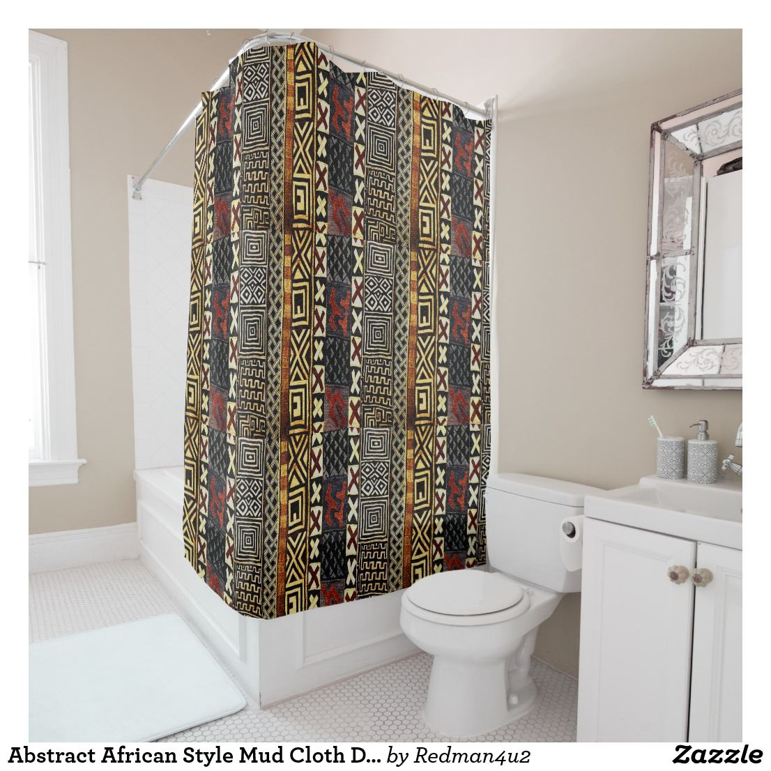 Abstract African Style Mud Cloth Design Shower Curtain | Zazzle.com