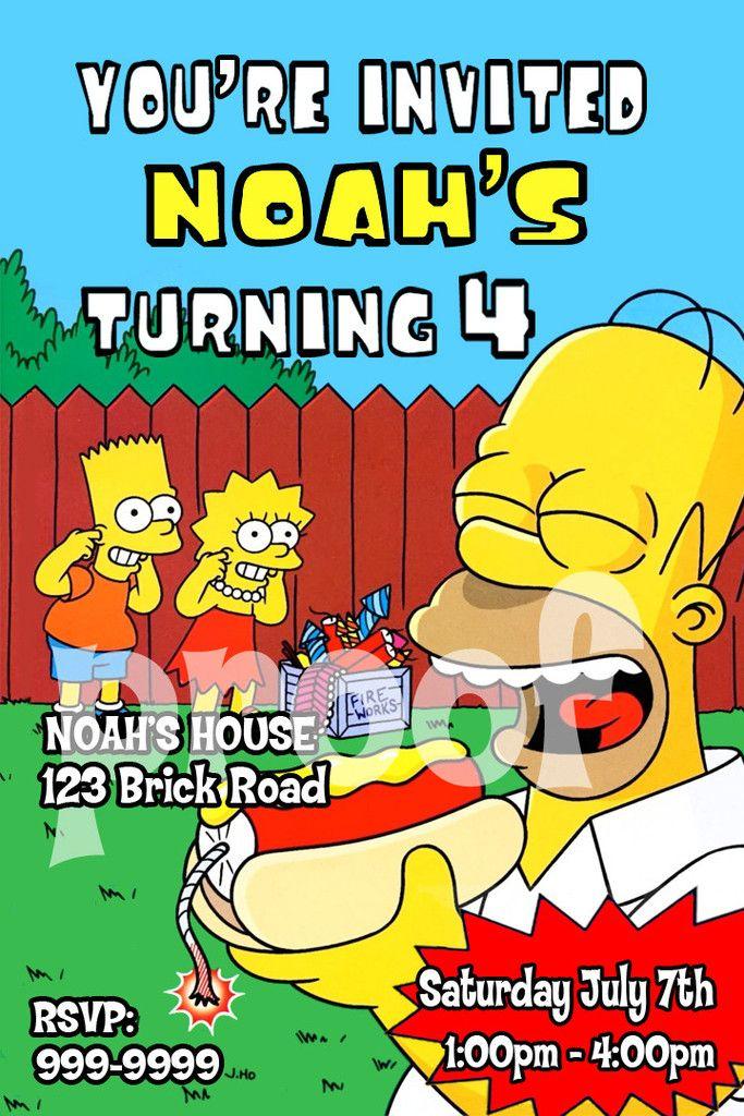 Printable Simpsons Personalized Backyard Birthday