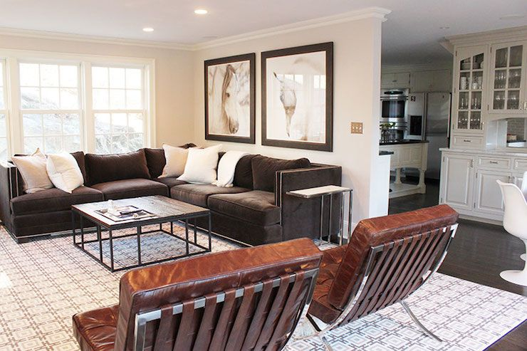 Laura Tutun Interiors Living Rooms Horse Art Sectional Sectional Sofa B Dark Brown Couch Living Room Brown Couch Living Room Brown Sectional Living Room
