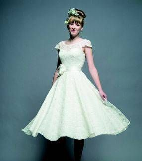 All Over Lace Cap Sleeved Tea Length Dress By White Rose Available At Blush