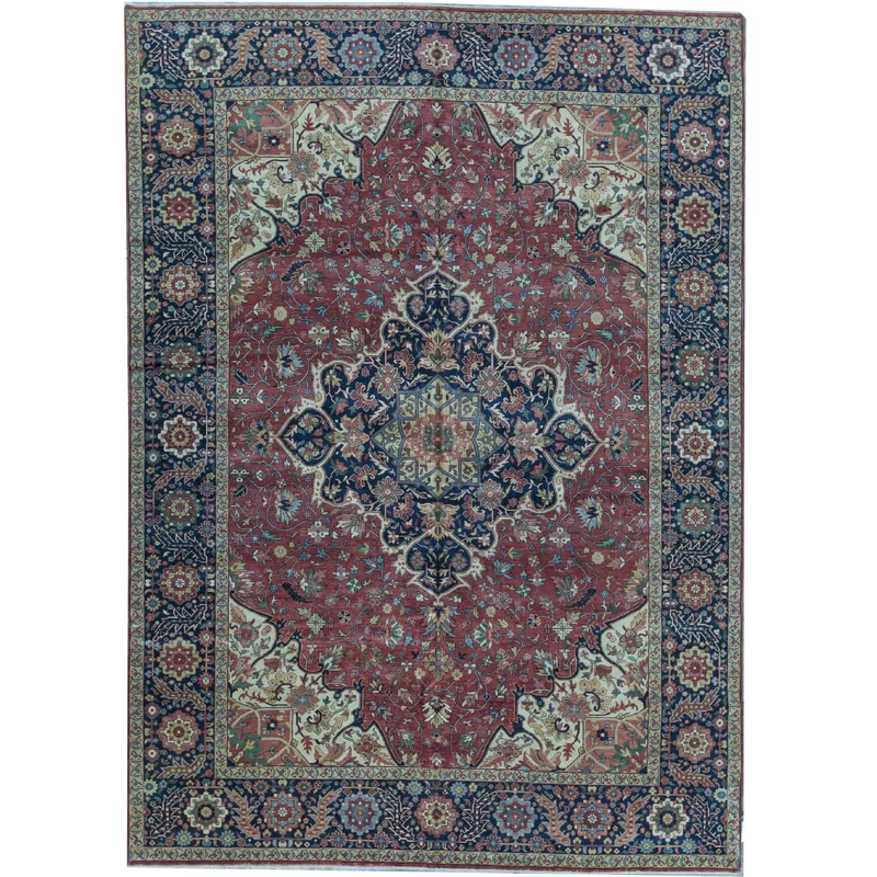 Oriental Hand Knotted Wool Red Blue Area Rug In 2020 Blue Area Rugs Area Rugs Navy Area Rug