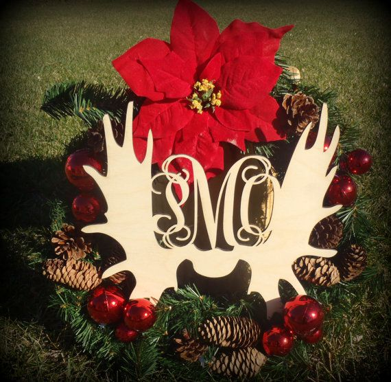 Craft, Moose Antler Cutout, Monogrammed Door Hanger, Christmas - moose christmas decorations