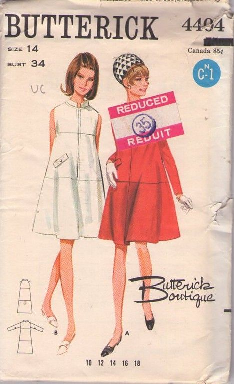 Butterick 4404 Vintage 60\'s Sewing Pattern AB FAB Mod Boutique Front ...