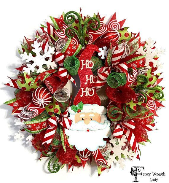 Santa Claus Deco Mesh Wreath Whimsical Santa Christmas