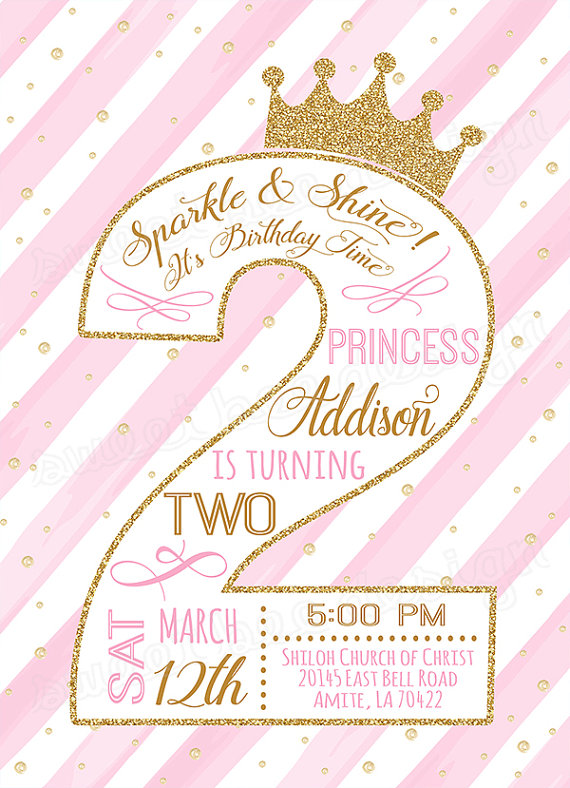 Second Princess Birthday Invitation Gold Glitter 2nd