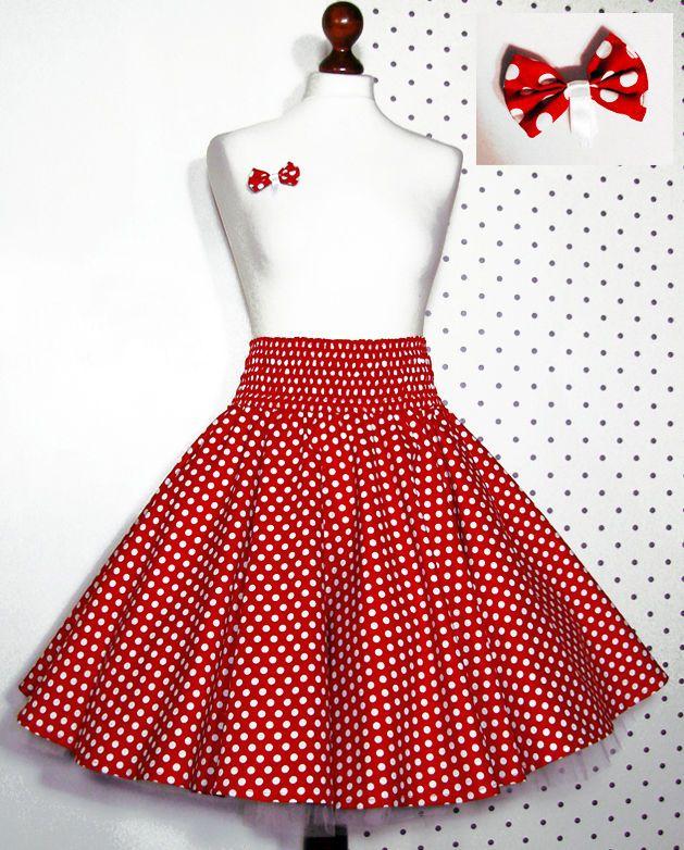 23296aa65a284a 50er Jahre Tellerrock + Schleife rot weiß Punkte 34 36 38 40 Rock z.  Petticoat | eBay
