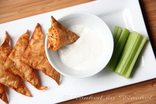 Buffalo Chicken Wontons | Baked by Rachel...will have to add mozz cheese to these to make em like TapHouse!