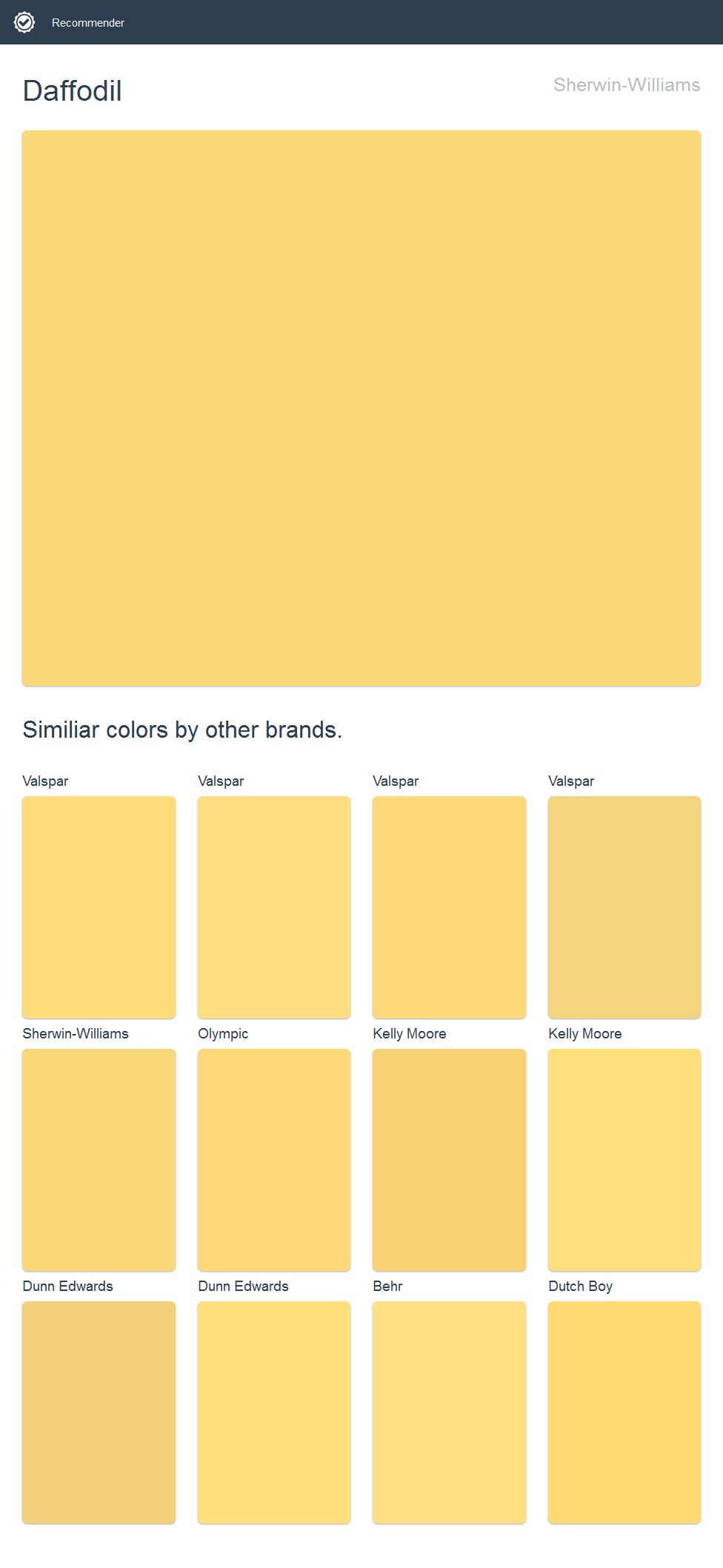 Daffodil, Sherwin Williams We Like Valspar, Third One In Top Row
