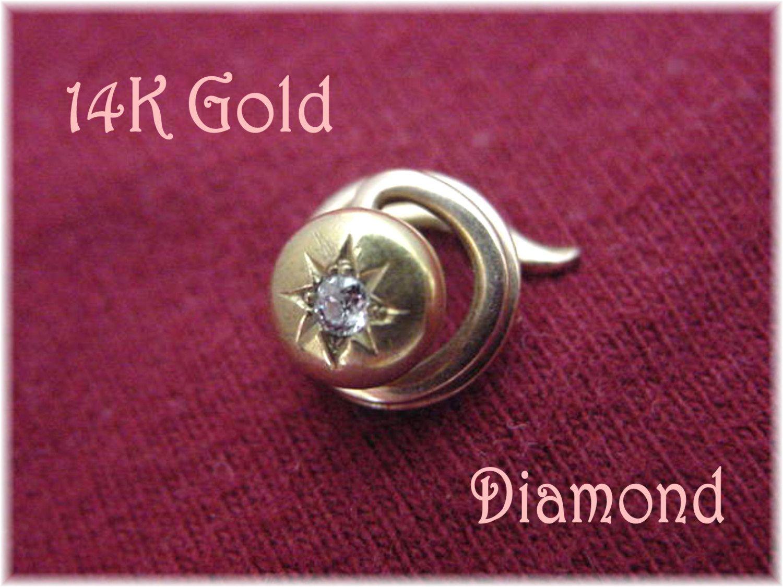 14K Gold - Diamond Collar Coil Stud Corkscrew Lapel Tie Tack Pin - Victorian Hat Pin Screw Twist - Sparkling Diamond - FREE SHIPPING