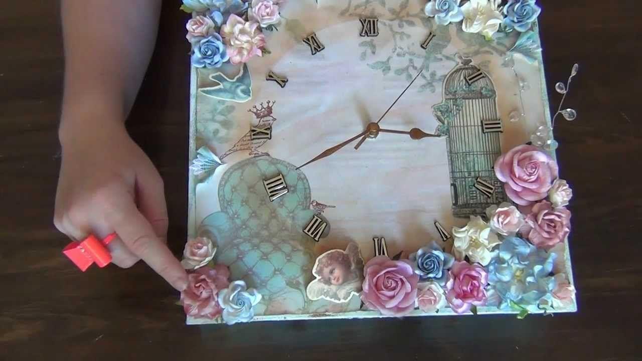 12 x 12 Shabby Chic Canvas Clock - WOC   Clocks   Shabby