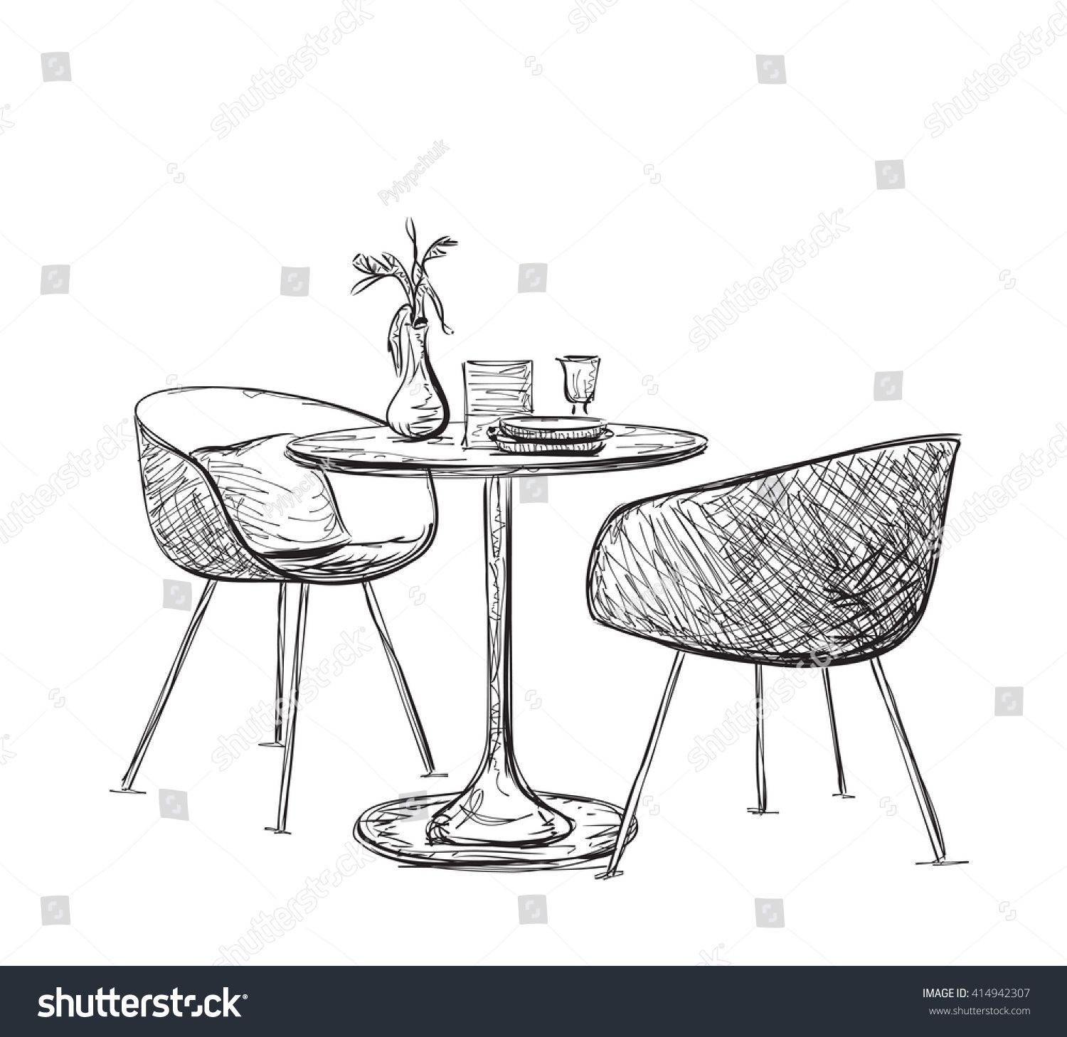 Sketch Modern Interior Table Chairs Hand Stock Vector Royalty