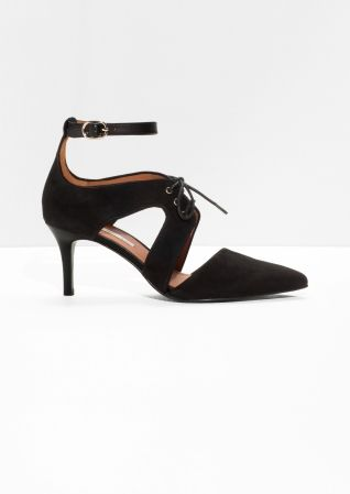 Lace-Up Suede Pumps   Black   Pumps, Shopping and Black edfe1aaf963