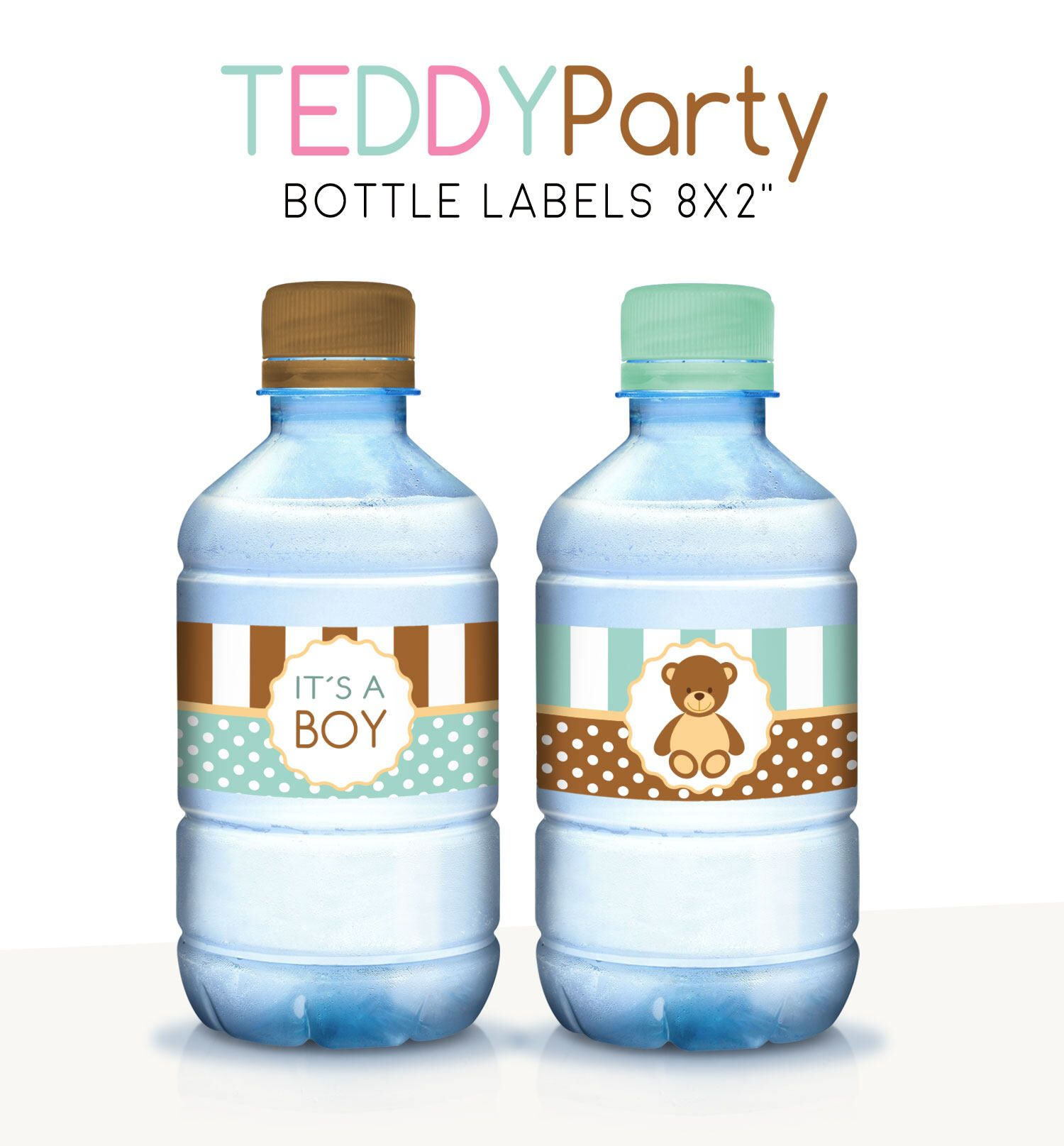 Baby Shower Water Labels, Printable Bottle Wrappers, Water Labels, Teddy