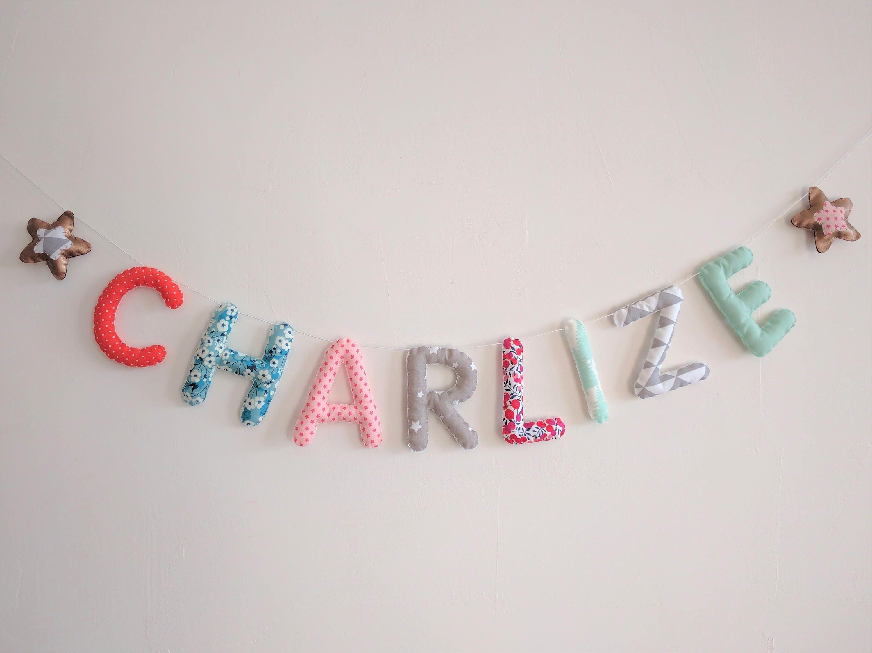 Guirlande Prénom Lettres Banderole Décoration Chambre Bébé Enfant