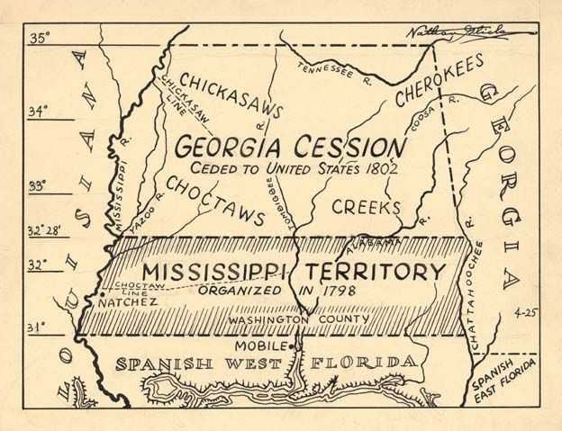 Map Showing The Land Of The Georgia Cession Indian Lands Ceded To The United States