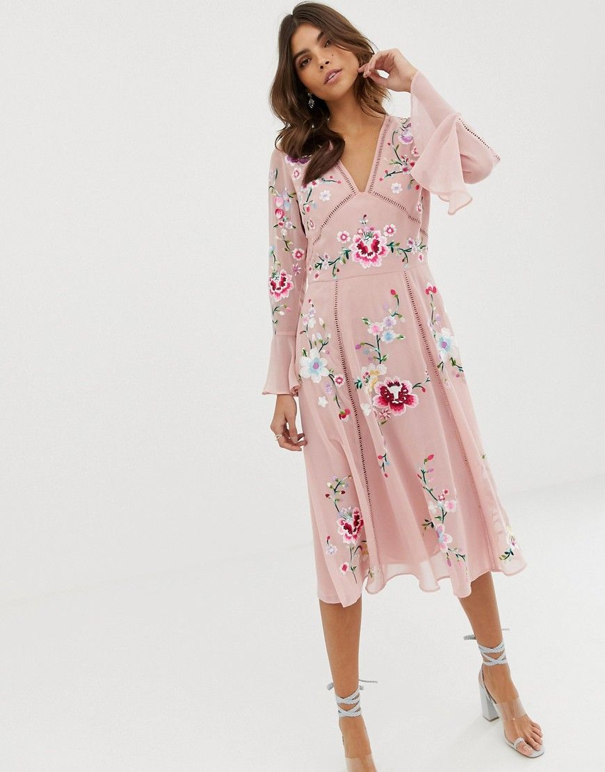 ASOS Embroidered midi dress with lace trims-Pink