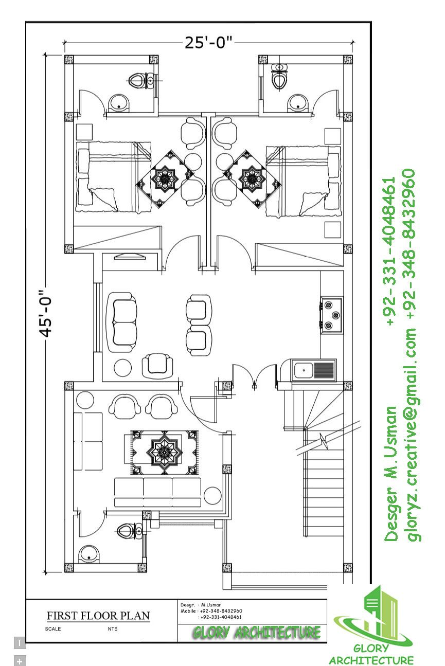 25x45 House Plan In 2020 20x40 House Plans 5 Marla House Plan House Layout Plans
