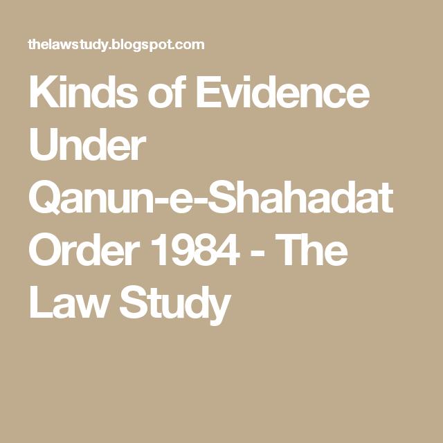 Qanun E Shahadat Order 1984 Pdf
