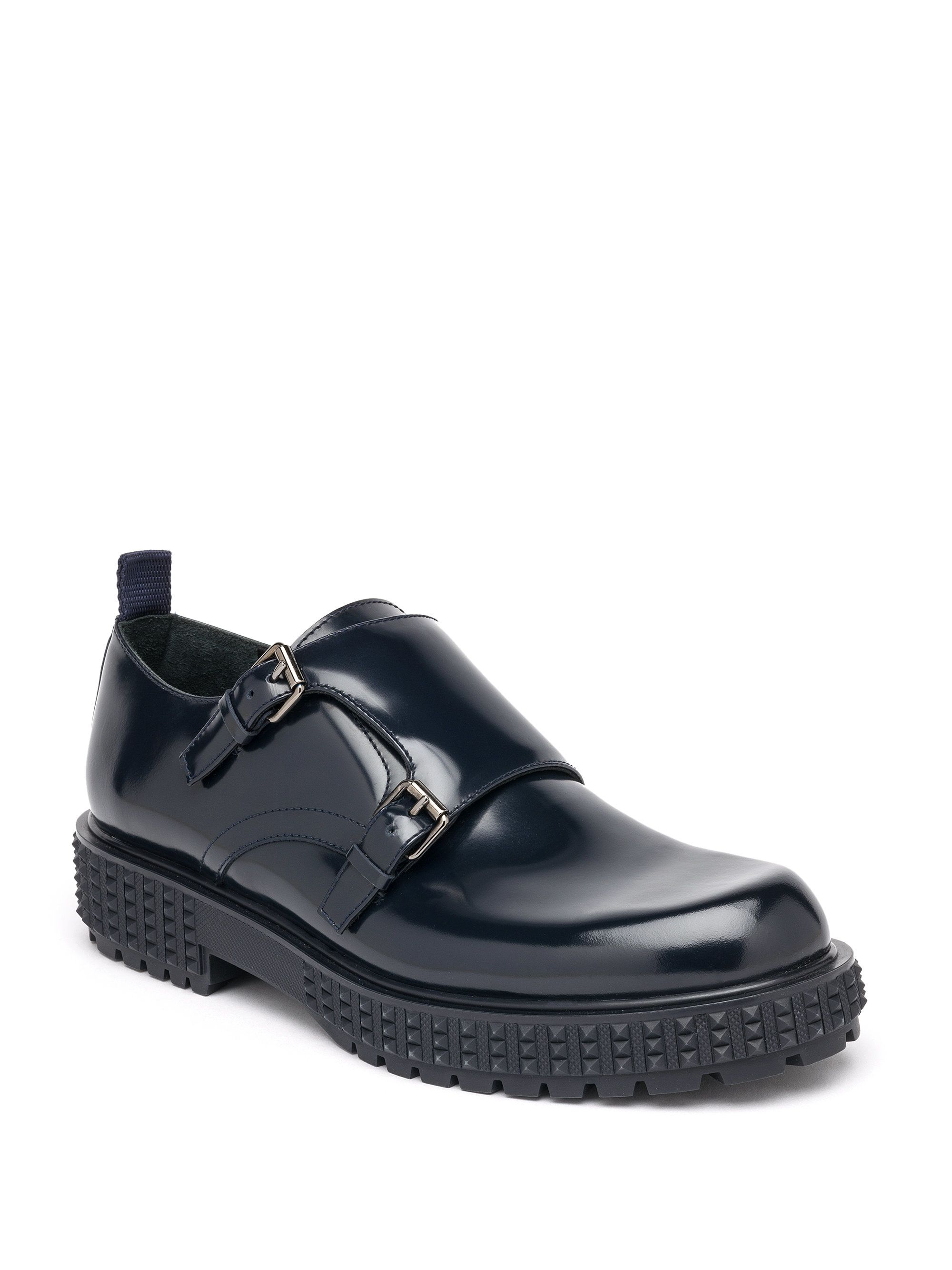 ec5380652254 Valentino Double Monk-Strap Leather Shoes in Black for Men