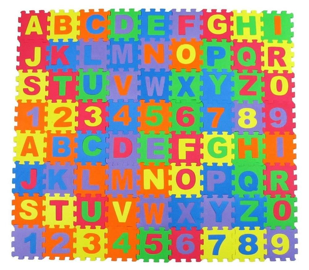 Alphabet Letters And Numbers Foam Puzzle Square Floor Mat 6x6 Inch 72 Piece Libertyimports Lettering Alphabet Letters And Numbers Playmat